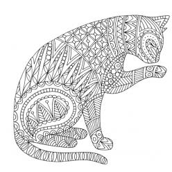 Раскраски антистресс животные «Кошечка умывается», чтобы распечатать