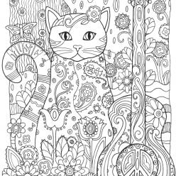 Раскраски антистресс животные «Кошка музыкант с гитарой», чтобы распечатать