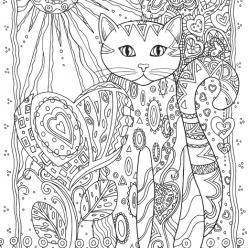 Раскраски антистресс животные «Кошка с сердечками», чтобы распечатать