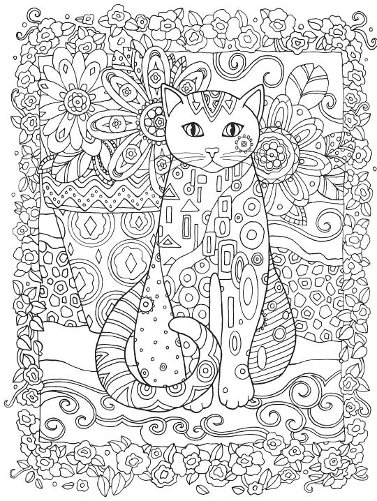Раскраски антистресс животные «Кошка с цветами», чтобы распечатать