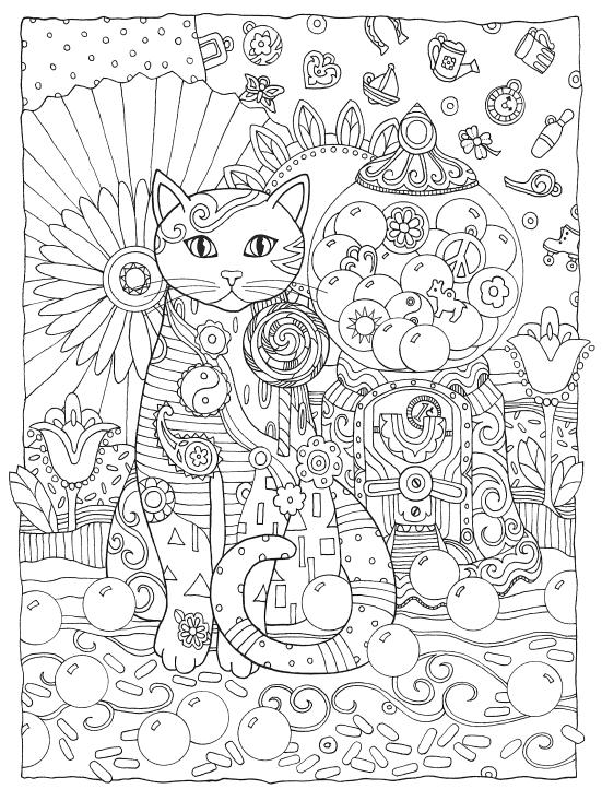 Раскраски антистресс животные «Кошка со сладостями», чтобы распечатать