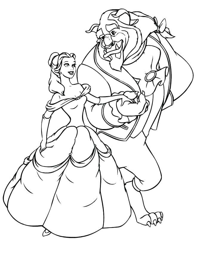Раскраски принцесса Дисней для девочек «Белль и Чудовище», чтобы распечатать