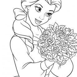 Раскраски принцесса Дисней для девочек «Красавица Белль с цветами», чтобы распечатать