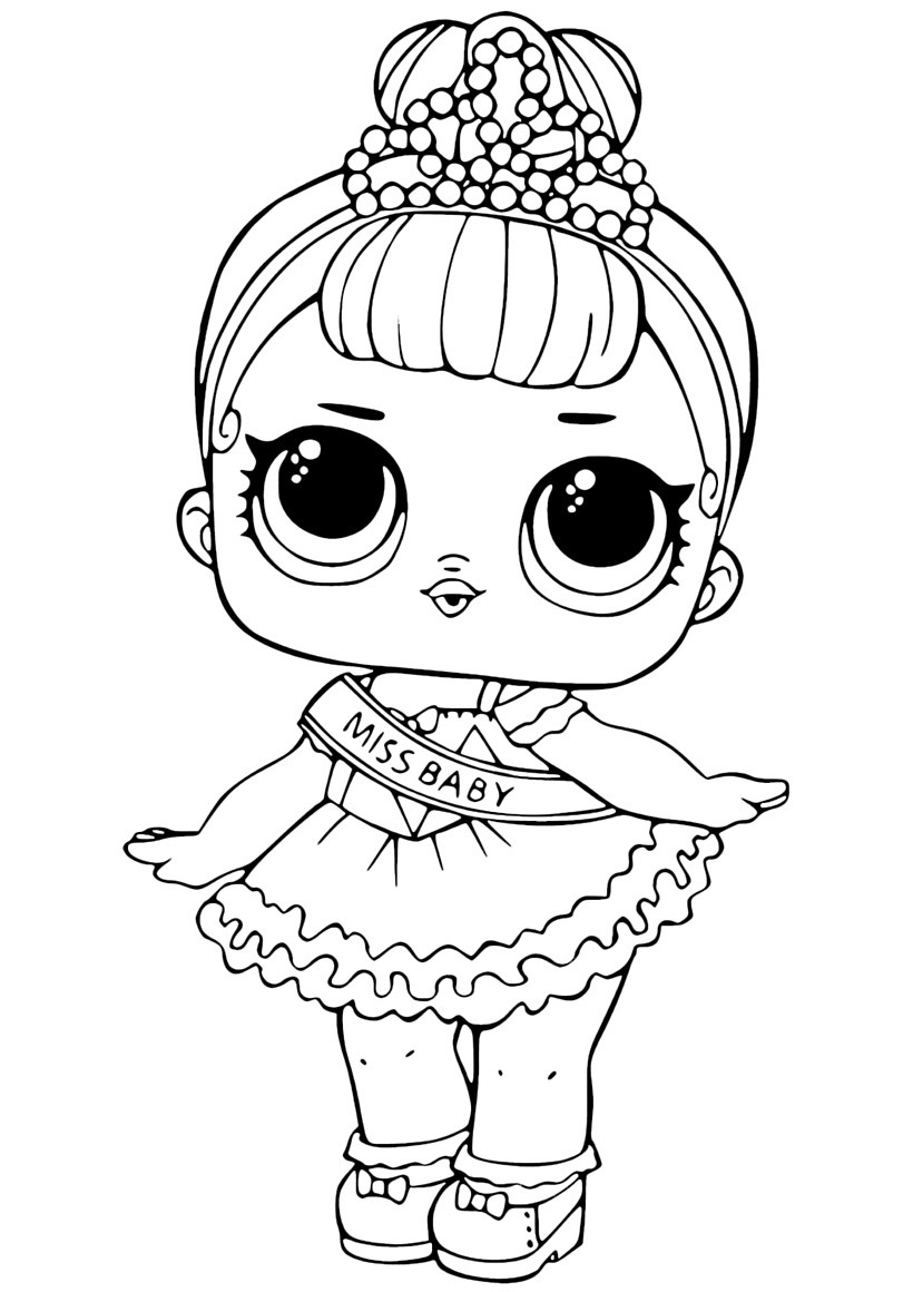 Раскраски кукла лол для детей «мисс беби», чтобы распечатать или раскрасить онлайн