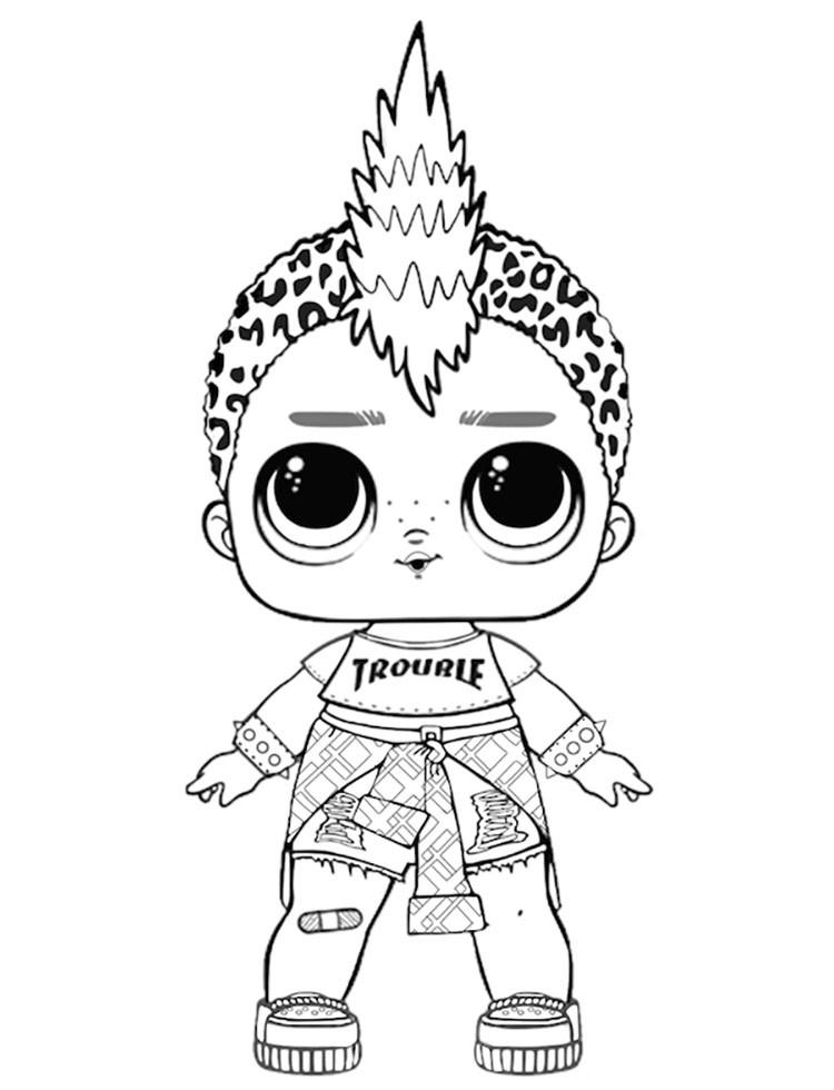 Раскраски кукла лол для детей «Панк бой», чтобы распечатать