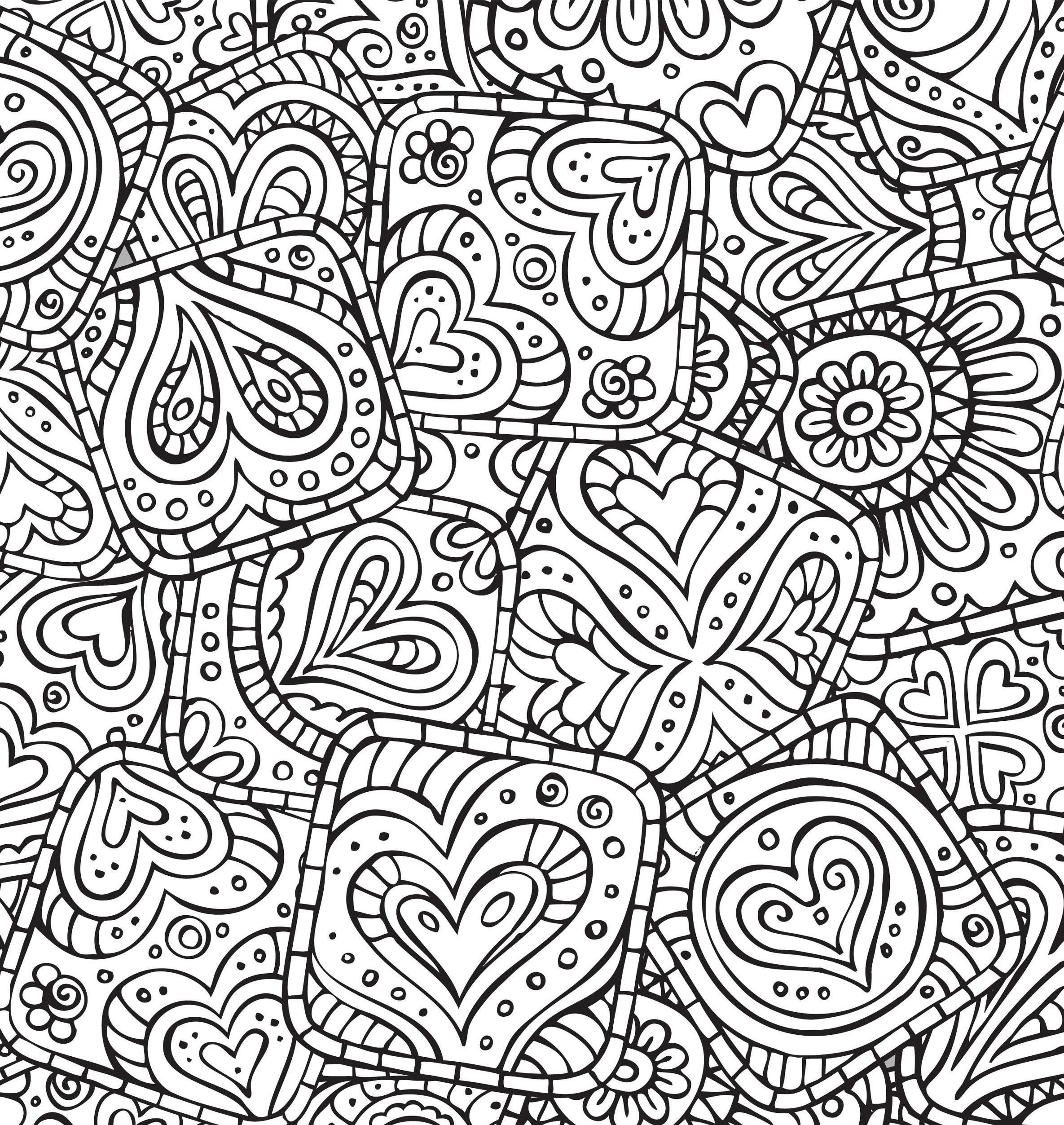 Раскраски антистресс хорошего качества «Печенье с сердцами», чтобы распечатать