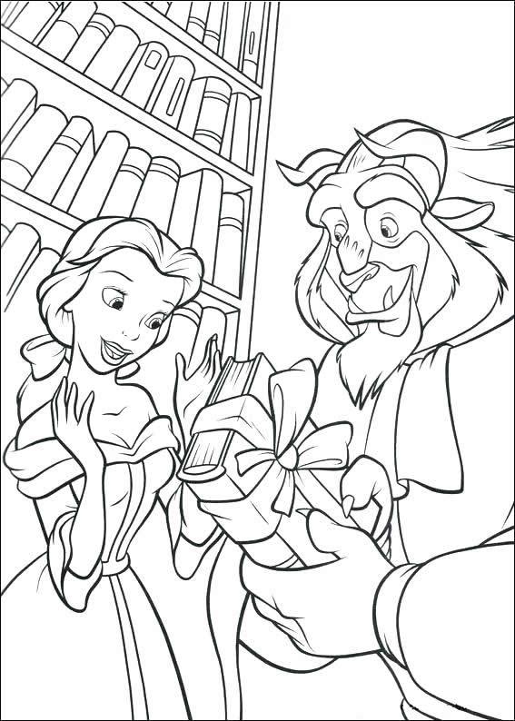 Раскраски принцесса Дисней для девочек «Чудовище дарит подарок Белль», чтобы распечатать