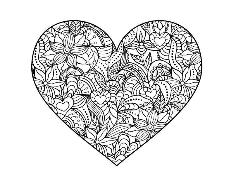 Раскраски антистресс хорошего качества «цветы в сердце», чтобы распечатать