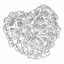Раскраски антистресс хорошего качества «сердце из роз», чтобы распечатать