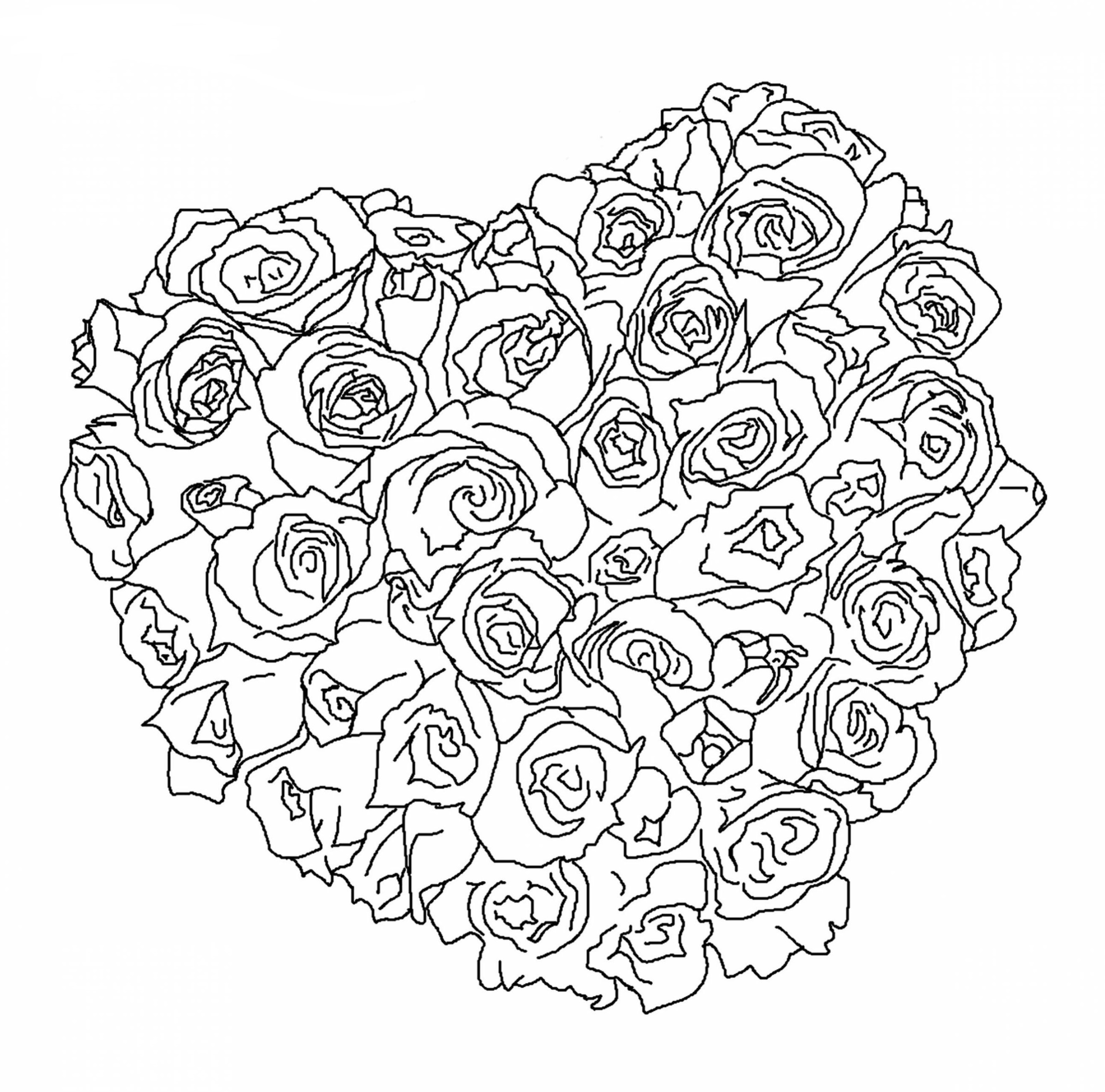 сердце из роз сердца раскраски антистресс