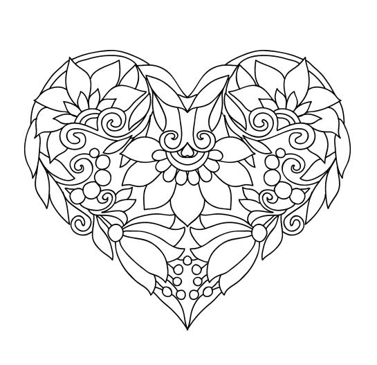 Раскраски антистресс хорошего качества «Сердце с колокольчиками», чтобы распечатать