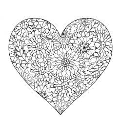 Раскраски антистресс хорошего качества «Сердце с ромашками», чтобы распечатать