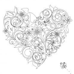 Раскраски антистресс хорошего качества «Сердечко из листочков», чтобы распечатать