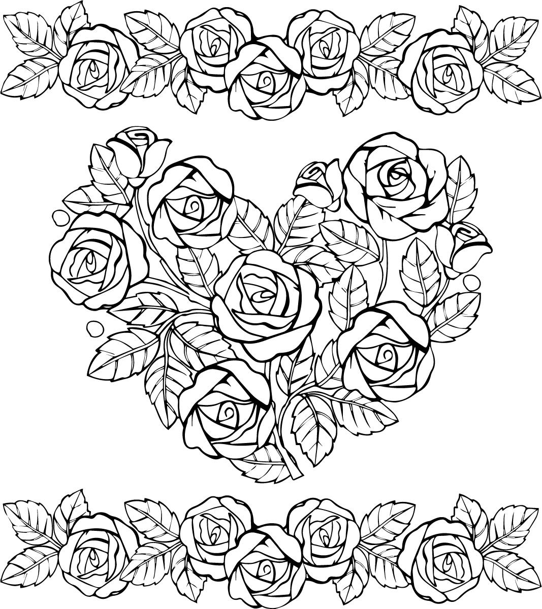 Раскраски антистресс хорошего качества «Сердце и красивые розы», чтобы распечатать
