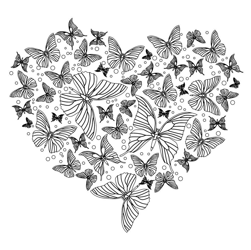 Раскраски антистресс хорошего качества «сердце из бабочек», чтобы распечатать
