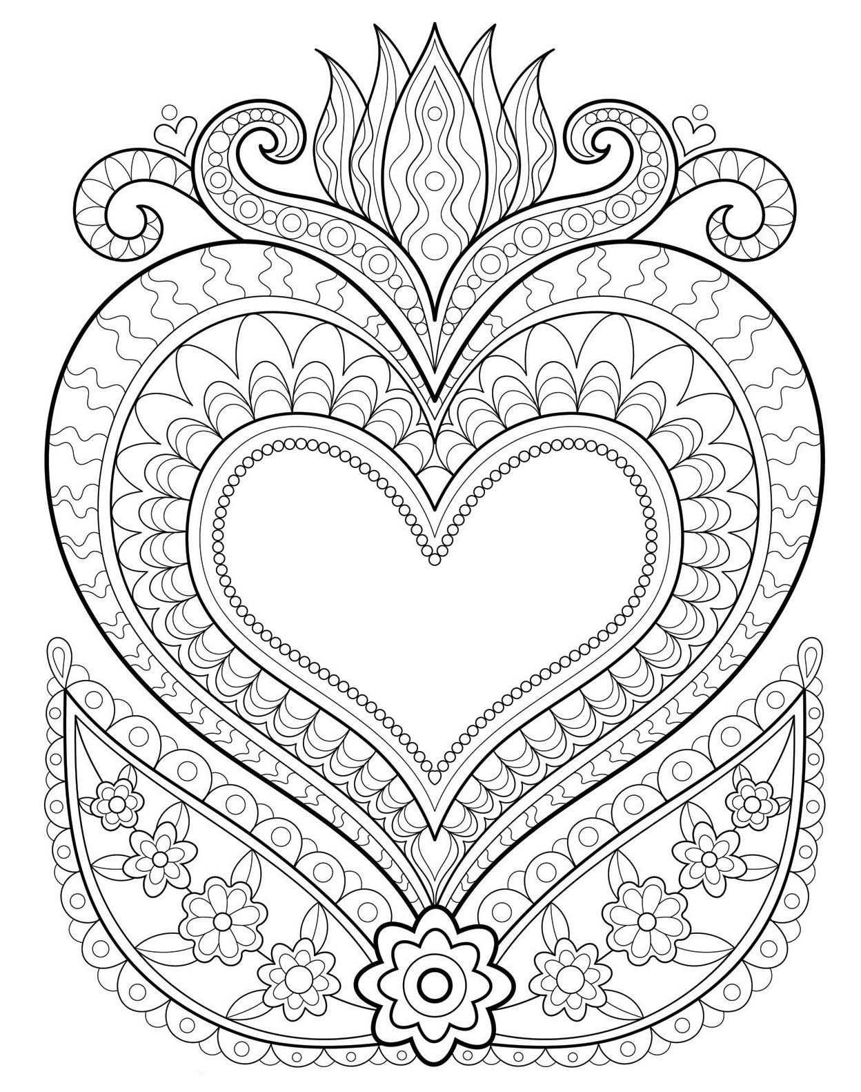 Раскраски антистресс хорошего качества «Сердце в огне», чтобы распечатать