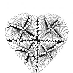 Раскраски антистресс хорошего качества «Сердце веер», чтобы распечатать