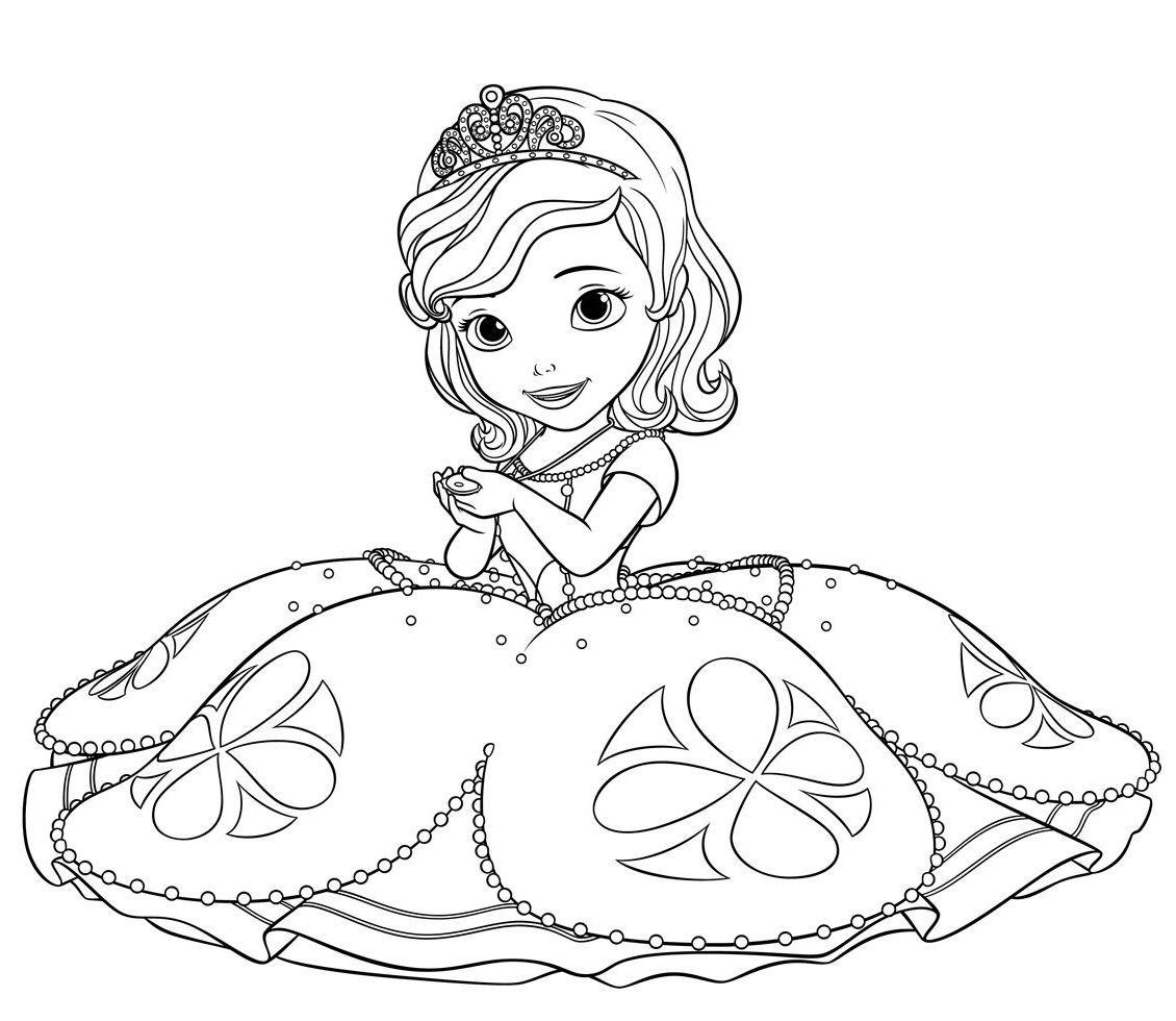 Раскраски принцесса Дисней для девочек «Принцесса София с амулетом», чтобы распечатать