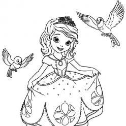 Раскраски принцесса Дисней для девочек «Принцесса София с животными», чтобы распечатать