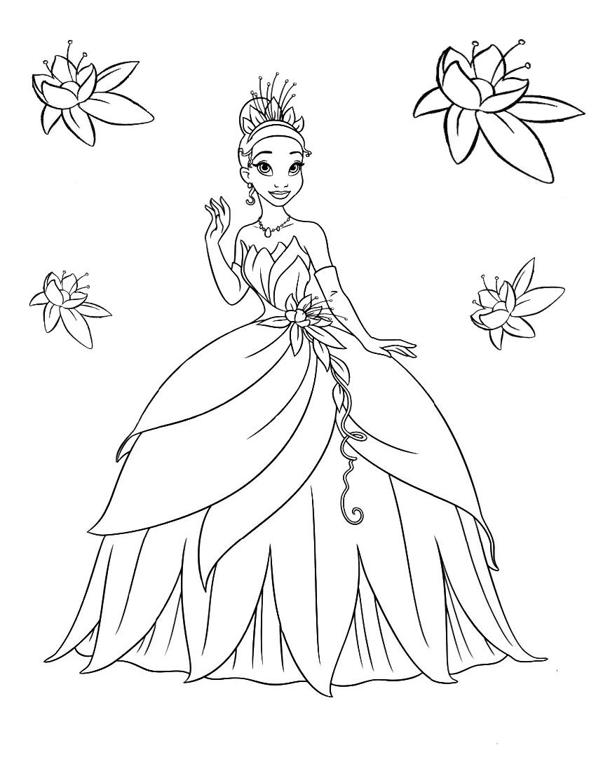 Тиана в бальном платье - Принцессы Дисней - Раскраски ...