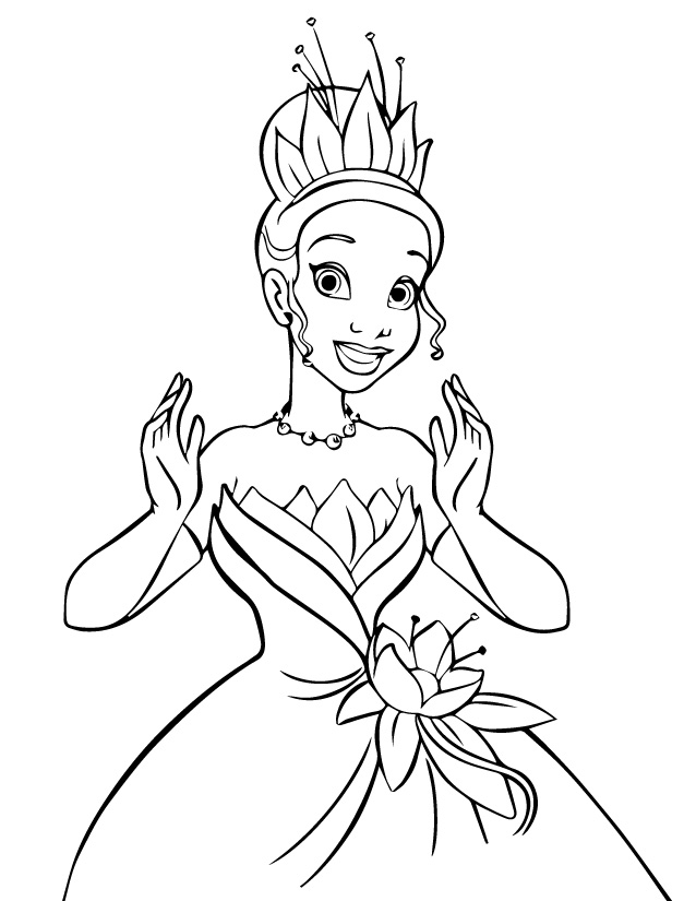 Раскраски принцесса Дисней для девочек «Принцесса Лягушка Тиана», чтобы распечатать