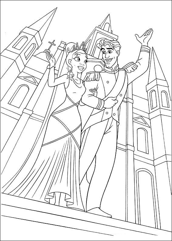 Раскраски принцесса Дисней для девочек «Тиана с принцем», чтобы распечатать