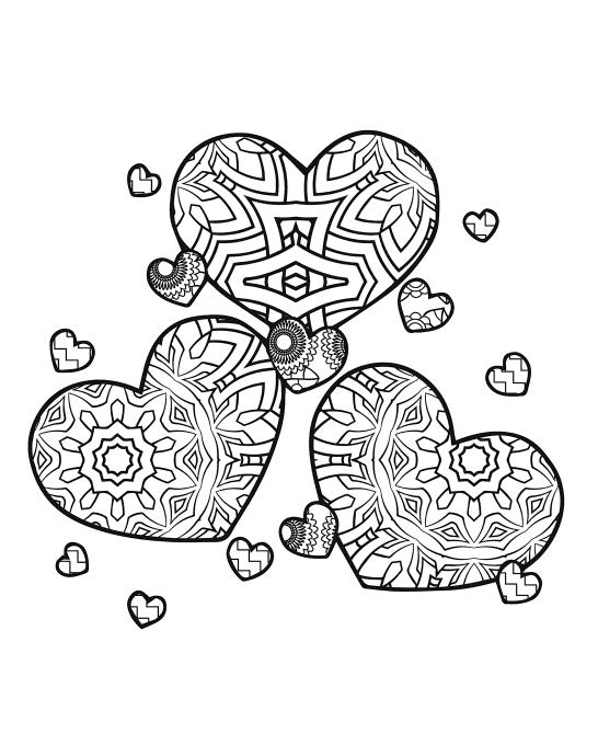 Раскраски антистресс хорошего качества «Три сердца», чтобы распечатать