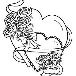 Раскраски антистресс хорошего качества «Валентинка с цветами», чтобы распечатать