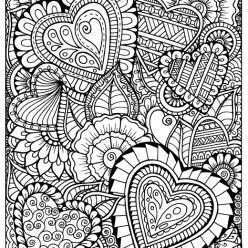 Раскраски антистресс хорошего качества «цветы сердечки», чтобы распечатать