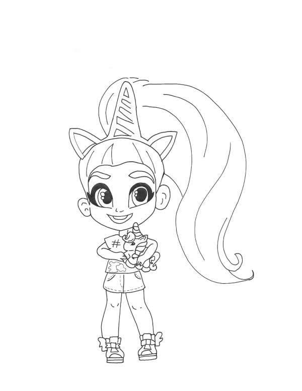 Раскраски Кукла-загадка cтильные подружки «Hairdorables» Ива, чтобы распечатать