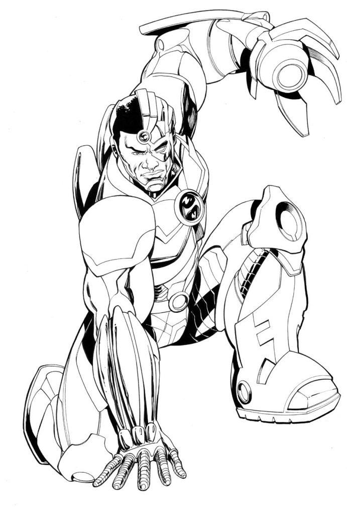 Раскраски Супергерои Марвел для мальчиков «Киборг», чтобы распечатать