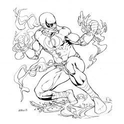 Раскраски Супергерои Марвел для мальчиков «Железный кулак», чтобы распечатать