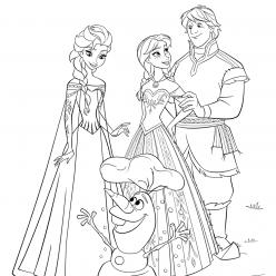 Раскраски из мультфильма Холодное Сердце «Анна, Кристоф и Эльза», чтобы распечатать