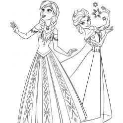 Раскраски из мультфильма Холодное Сердце «Анна и Эльза», чтобы распечатать