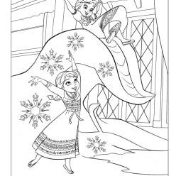 Раскраски из мультфильма Холодное Сердце «Анна и Эльза в детстве», чтобы распечатать