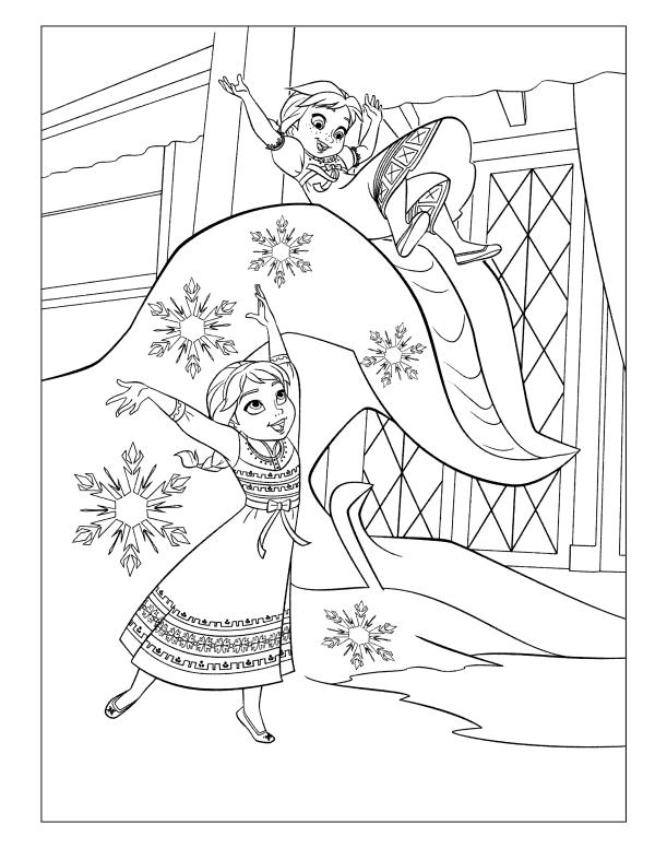 Анна и Эльза в детстве - Принцессы Дисней - Раскраски ...