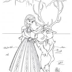Раскраски из мультфильма Холодное Сердце «Анна и Свен», чтобы распечатать