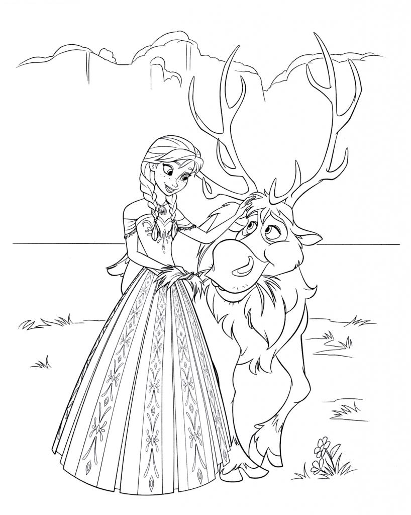анна и свен принцессы дисней раскраски антистресс