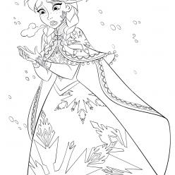 Раскраски из мультфильма Холодное Сердце «Анна замерзает», чтобы распечатать