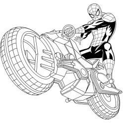 Раскраски Супергерои Марвел для мальчиков «Человек Паук на мотоцикле», чтобы распечатать