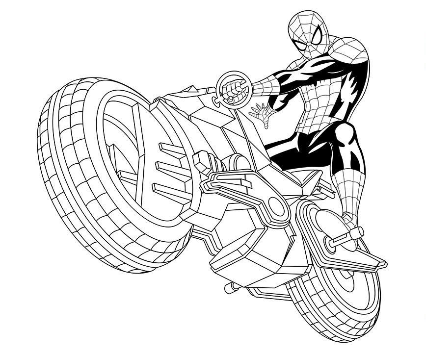 Человек паук на мотоцикле - Супергерои Марвел - Раскраски ...