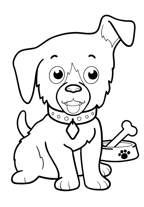 Раскраски животных для маленьких детей «Щенок», чтобы распечатать и раскрасить онлайн