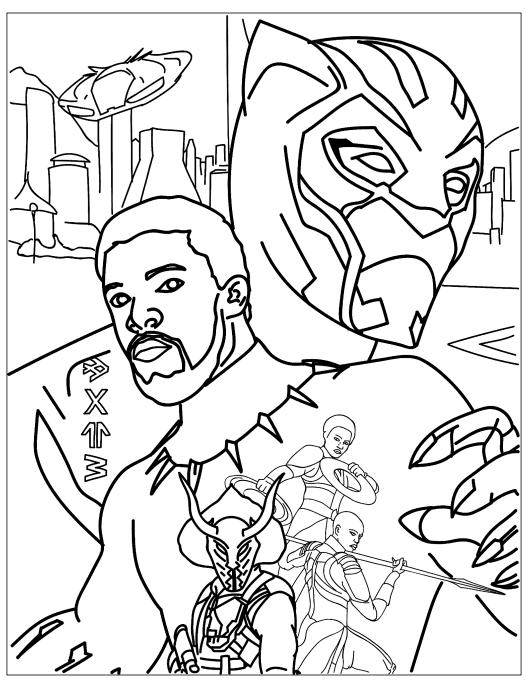 Раскраски супергерои для мальчиков «Черная пантера», чтобы распечатать