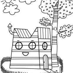 Раскраски из мультфильма для детей «Дом семьи Три кота», чтобы распечатать