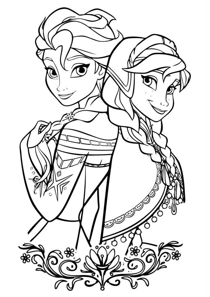 Раскраски из мультфильма Холодное Сердце «Эльза и Анна в зимнем наряде», чтобы распечатать