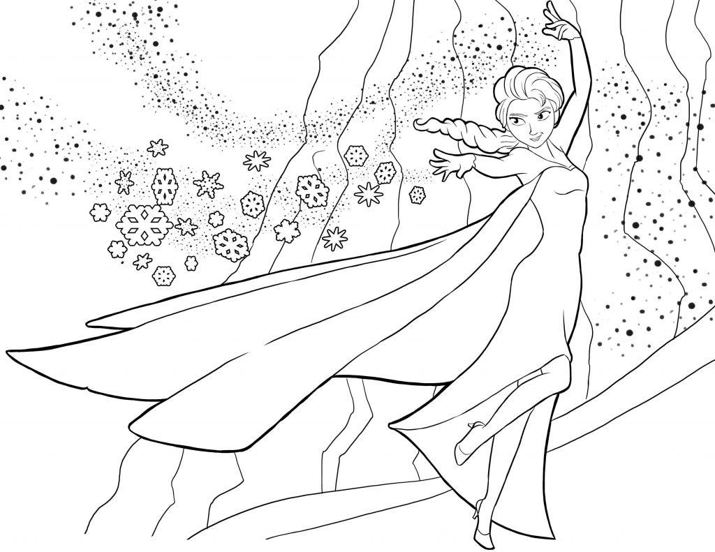 Раскраски из мультфильма Холодное Сердце «Королева Эльза со снегом», чтобы распечатать
