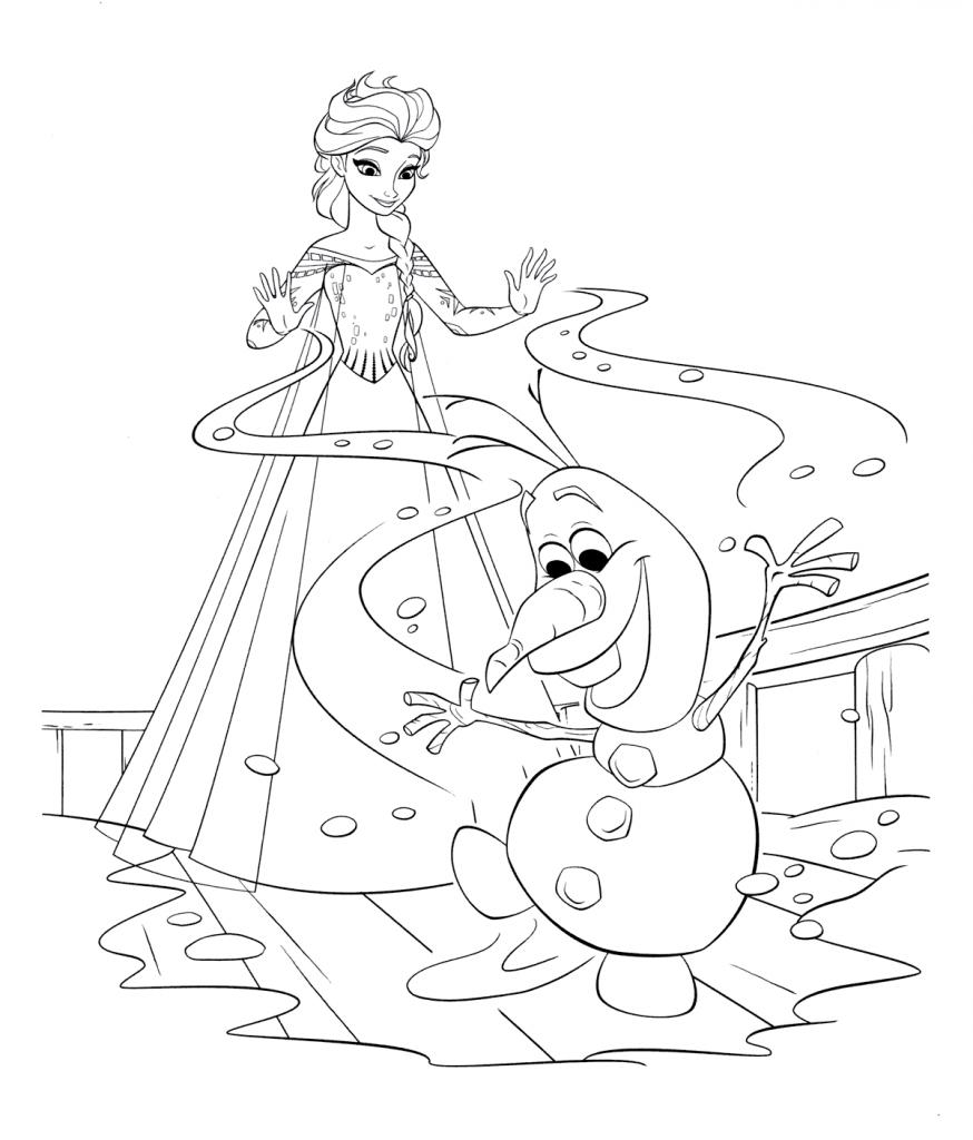 Раскраски из мультфильма Холодное Сердце «Эльза помогает Олафу», чтобы распечатать