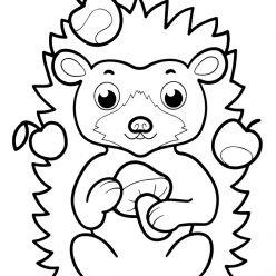 Раскраски животных для маленьких детей «Ежик», чтобы распечатать и раскрасить онлайн