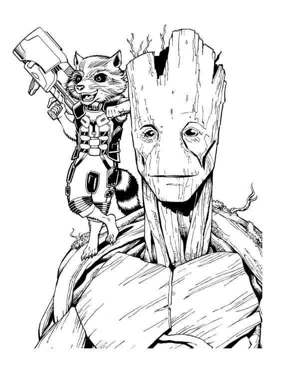 Раскраски супергерои для мальчиков «Грут - деревянный человек», чтобы распечатать