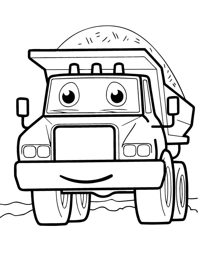Раскраски для мальчиков транспорт с глазками «Грузовик», чтобы распечатать и раскрасить онлайн